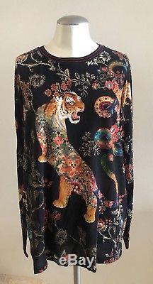 NWOT ETRO Tiger-Print Long Sleeve Top, Black IT 46 US 10