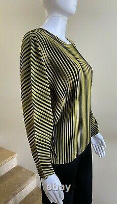 NWOT PLEATS PLEASE ISSEY MIYAKE Striped Long Sleeve Top Blouse 3 (Medium)