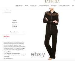 NWT $1008 LA PERLA Edenic Macrame Black Silk Long Sleeve Pajama Top Women's XS
