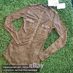 NWT $1165 Balmain Ribbed-knit Long-sleeved Top size 36Fr