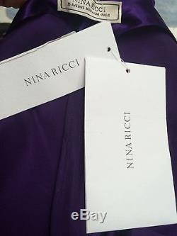 NWT $1190 Nina Ricci purple satin bodysuit top long sleeves