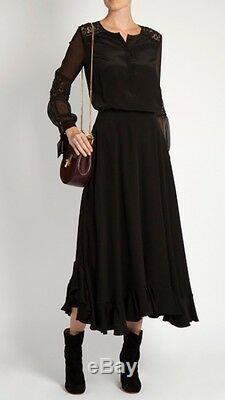NWT $295 Rebecca Taylor Long Sleeve Silk & Lace'Sarah' Blouse Top Black Size 6
