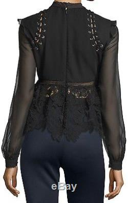 NWT $375 UK8/US4 SELF-PORTRAIT Black Lace Long Sleeve Blouse Top