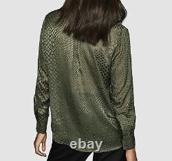NWT $595 Reiss Women's Green Sheer Long-Sleeve Button Shirt Blouse Top Size US 4