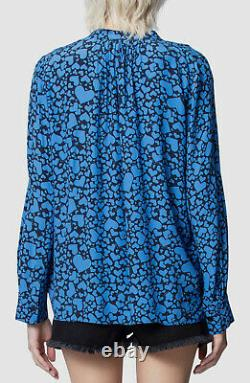 NWT $675 Zadig & Voltaire Women's Blue Black Heart Long-Sleeve Blouse Top Size M