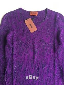 NWT Authentic Missoni Women's Purple Long Sleeve Crewneck Sweater Top Size 40 EU