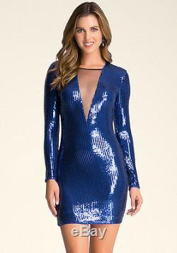 NWT Bebe blue mesh deep v neck mesh sequin long sleeve top dress S Small club