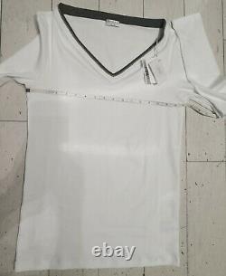 NWT Brunello Cucinelli 695$ 12US/XXL IT Long Sleeve V-neck/Monili White Top