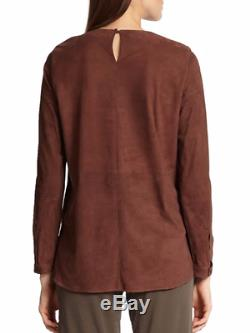 NWT Brunello Cucinelli Brown Long Sleeve Seamed Suede Top IT 42 US 6 Small