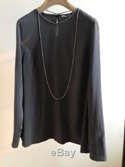 NWT Brunello Cucinelli Women's Silk Top Long Sleeve with Monili Size S