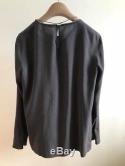 NWT Brunello Cucinelli Women's Silk Top Long Sleeve with Monili Size S
