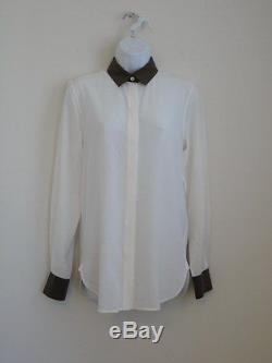 NWT CELINE Silk OffWhite Brown Collar Cuff Contrast Long Sleeve Blouse Top 38/6