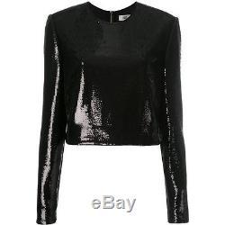 NWT Diane Von Furstenberg Long sleeved black sequin crop top evening size 6