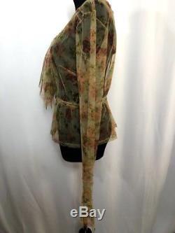 NWT Dries Van Noten Nude Mesh Long Sleeve Top in Floral Multi, Sz. 38/ US 4