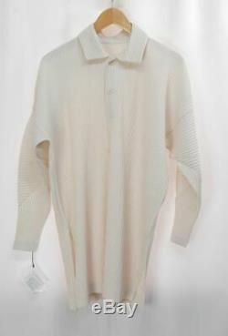 NWT HOMME PLISSE ISSEY MIYAKE Beige Long Sleeve Top size2 348 0050