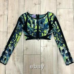 NWT Herve Leger Women's Blue Green Bandage Long Sleeve Cropped Zipper Top Size S