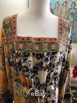 NWT Johnny Was Long Sleeve Square Neck Tunic Top Size L 100% Silk $275