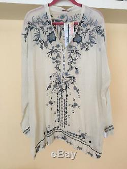 NWT Johnny Was Samantha Tunic Top Long Sleeve Embroidered V Neck Gray Size XL