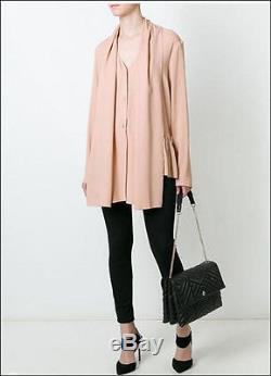 NWT Lanvin Black Ruffled Skirt Detail Long Sleeve Blouse Top Sz 40 M