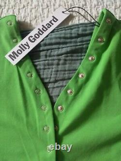NWT Molly Goddard Lenore Bright Green Cotton Top Cardigan With Buttons S $365
