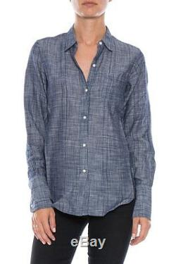 NWT Nili Lotan Dobby NL Cotton Collared Long Sleeve Button-Down Blue Shirt Top
