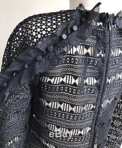 NWT SELF PORTRAIT Ruffled Lace Black Long Sleeve Blouse Top 4 XS