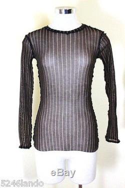 NWT Vintage Jean Paul Gaultier Mesh Mesh Black Longsleeve Top Blouse S 2 3 4