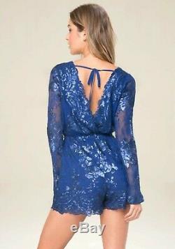 NWT bebe blue floral lace sequin long sleeve mesh top dress romper fits XS XXS