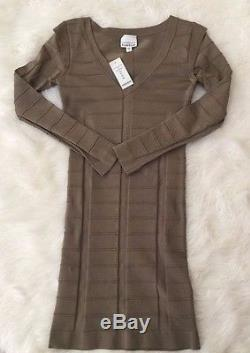 NWT bebe green gray geo rib long sleeve bodycon bandage top dress S Small club