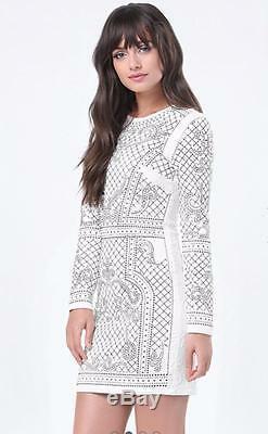 NWT bebe white bianca stud embellished qulited textured long sleeve top dress XS