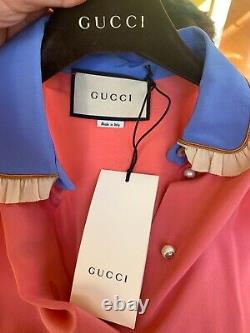 NWT size IT 40 US 4 Gucci pink silk blouse top