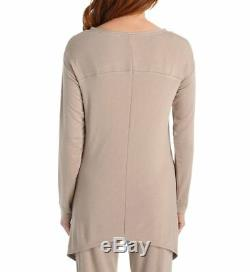 Natori LOUNGE Cashmere Beige Jersey Knit Long Sleeve Top & Drawstring Pant M