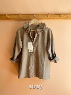 Nest Robe Japan NEW NWT ruffle collar linen boxy blouse dress top shirt OS $285