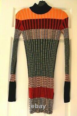 New $1000 Missoni Orange Label Dress Striped Turtleneck Sweater Top US 2 4 IT 40