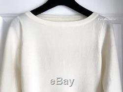New Alaia White Knit Peplum Long Sleeve Top Shirt Sweater 38