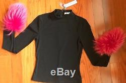New Alice + Olivia Haylen Mock-Neck Long-Sleeve Top with Fur Cuffs X-Small