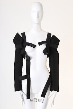 New COMME DES GARCONS black long sleeve elastic band cage harness top S