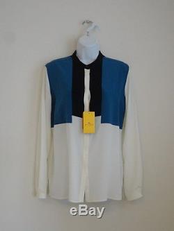 New ETRO Black Blue Cream Silk Color Block Long Sleeve Shirt Blouse Top 46/12