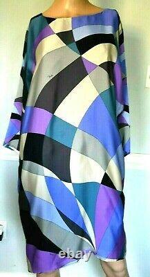 New Emilio Pucci Signature Print Silk Tunic Top Silk Dress Kaftan US 6 8 / IT 42