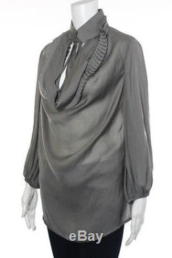 New Givenchy Gray Long Sleeve Pleated Cowl Neck Tunic Top Size 6