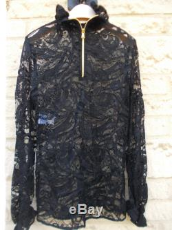 New Gorgeous Emilio Pucci Black Lace Top Blouse Long Frilled Sleeves Authentic