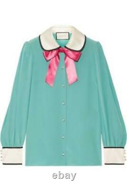 New Gucci Blouse Silk Bow Embellished Top Satin Trim Crepe Green Size 42 Aa