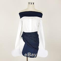 New Jacquemus Woman's Blouse Top White Blue 38 10 Off Shoulder Long Sleeve Top