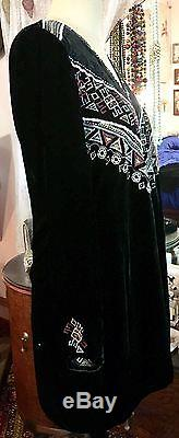 New Johnny Was La Landon Long Sleeve Embroidered Black Velvet Tunic Top M 14 Nwt