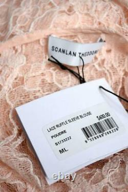New SCANLAN THEODORE Poudre Pink French Lace Long Sleeve Blouse Top ML $600