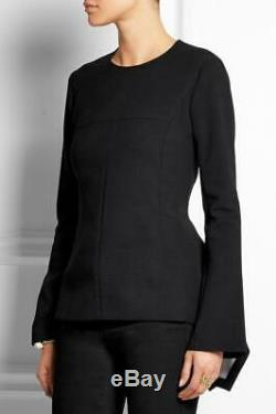 New STELLA McCARTNEY Black Stretch-Wool Long Sleeve Peplum Top I38
