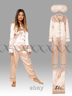 New Satin 5 Piece PJ Set Ladies Womens Pyjama Sets Long Sleeve Top Nightwear