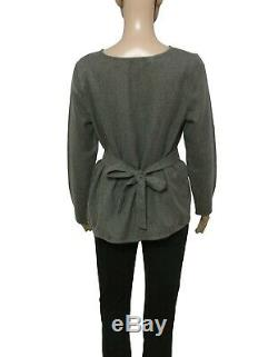New Sezane Jenna Blouse Gray Top Long Sleeve Tie Back Wool Casual Medium M 40