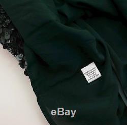 New St John Couture sz L green sequin top blouse jacket asymmetric long sleeves