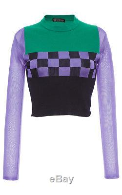 New VERSACE Color Block Knit Long Sleeve Checkered Top Cropped Pullover Sweater
